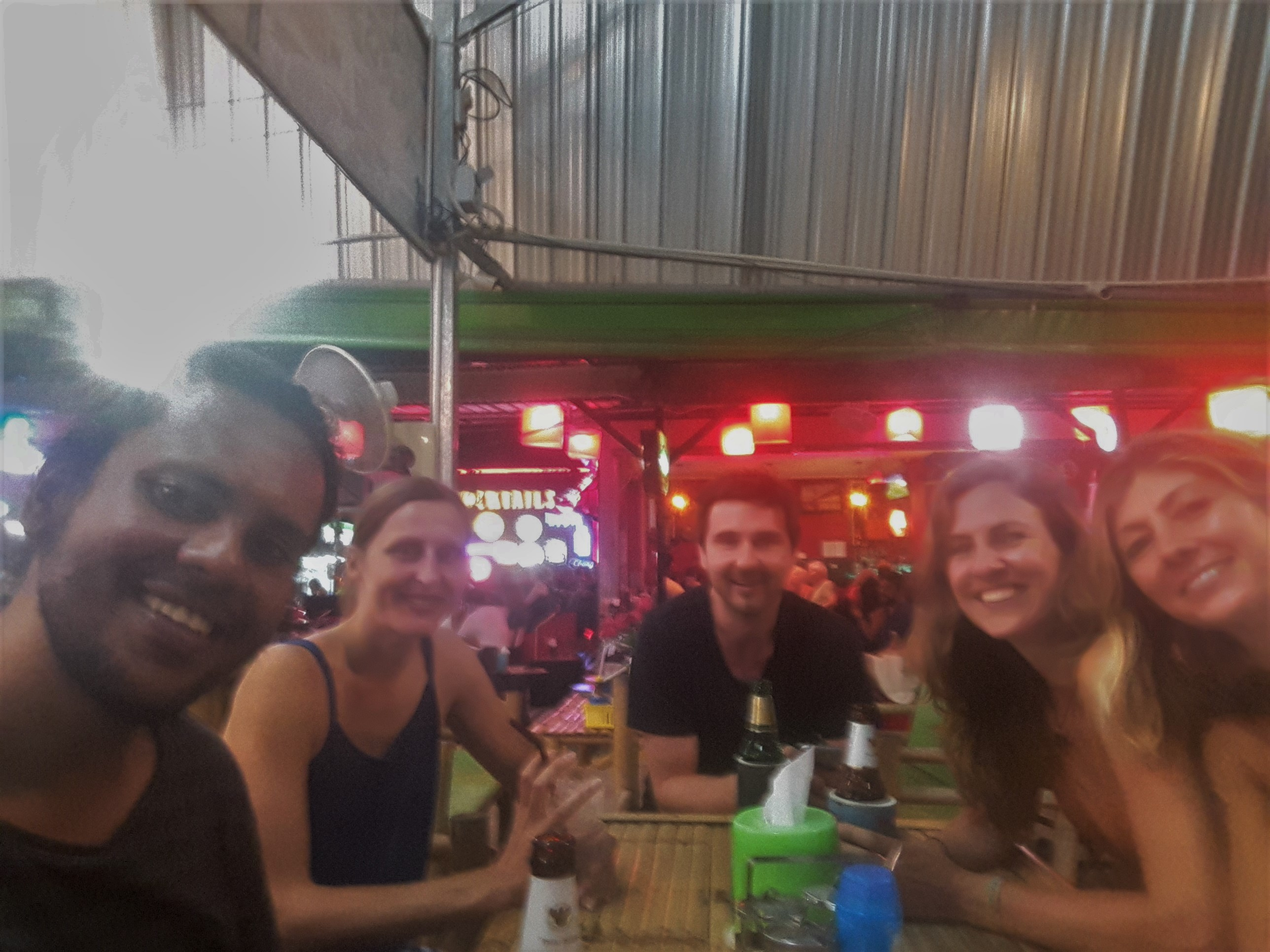 Hanging out with few other course mates with a drink in a restaurant at Lamai beach