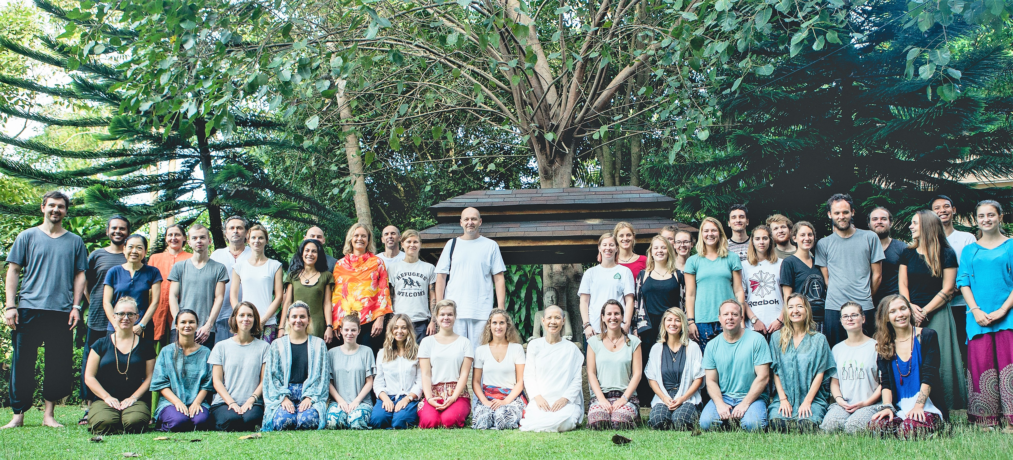 Group photo of all the participants after meditation retreat with our teacher