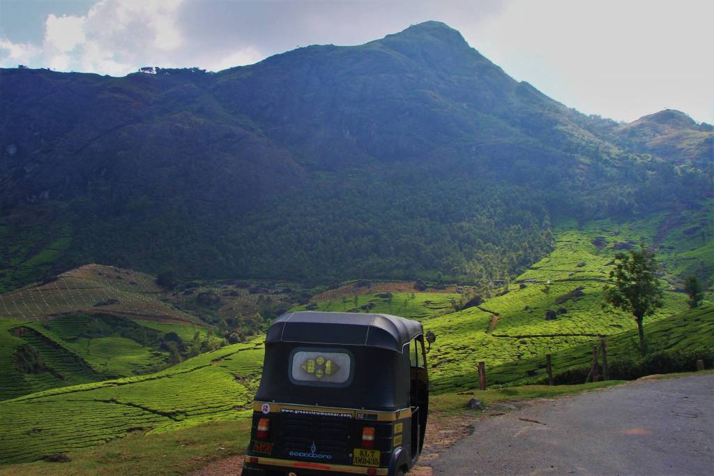 Auto-rickshaw parked among the tea gardens in Munnar, India