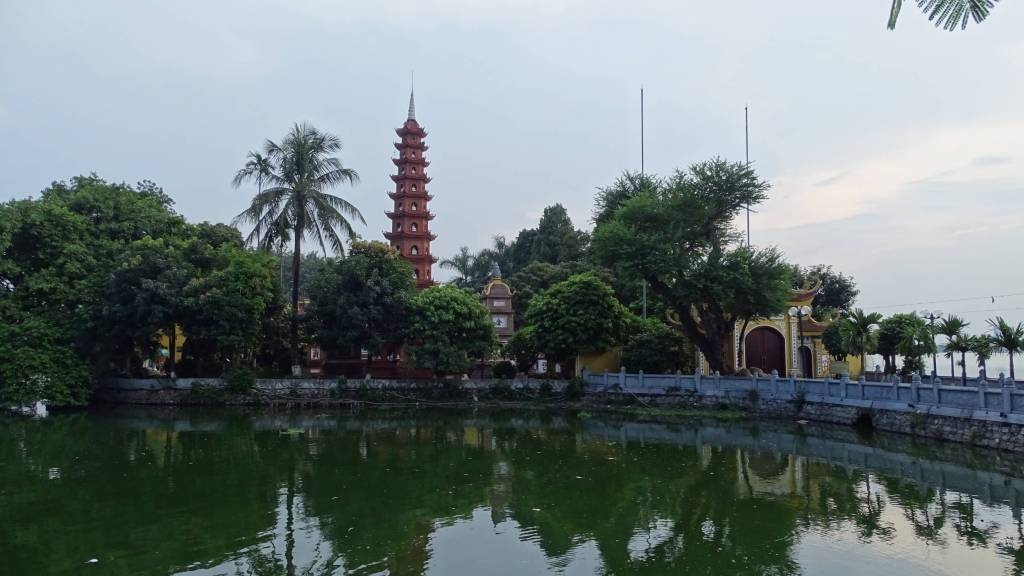 The causeway leading to the Chua Tran Quoc temple on the West Lake in Hanoi