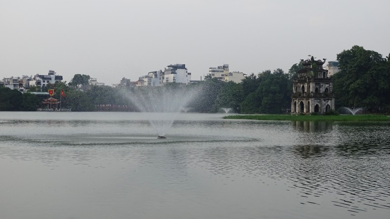 A view of the Hoan Kiem lake and a Ngoc Son temple far in the distance