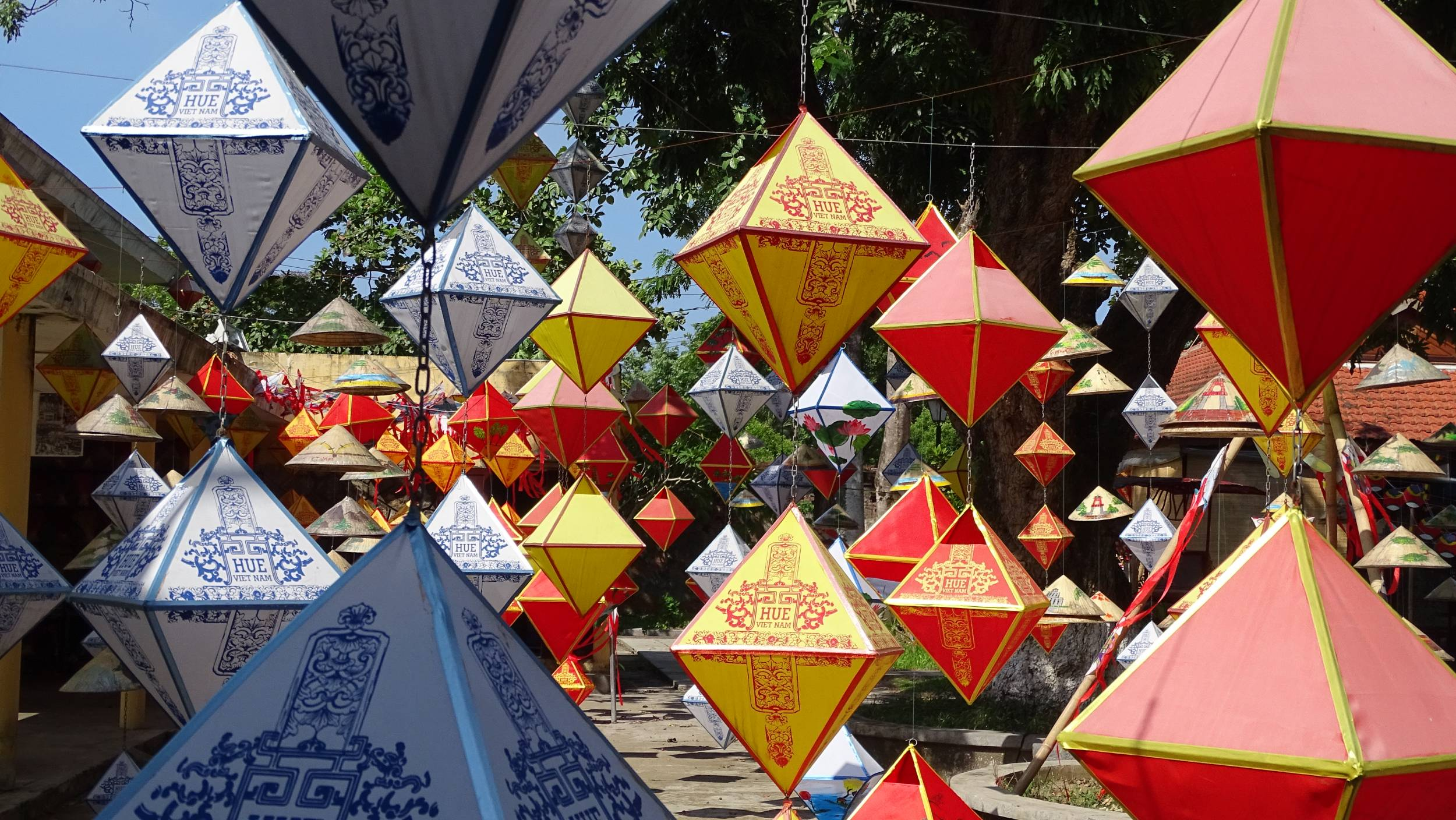 Colourful paper lanterns hanging at a stall in the Imperial City of Hue