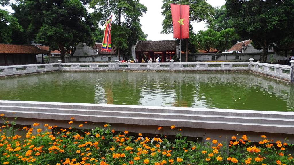 Large square carp pond at the Temple of Literature in Hanoi