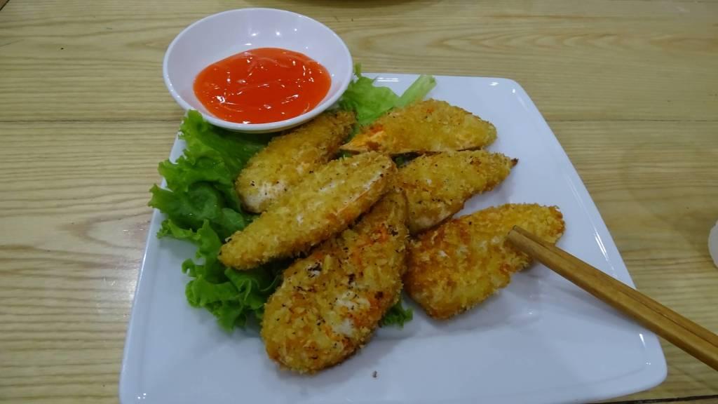 Aesthetically presented breaded pieces of vegan 'meat' in one of Hanoi's vegan restaurants