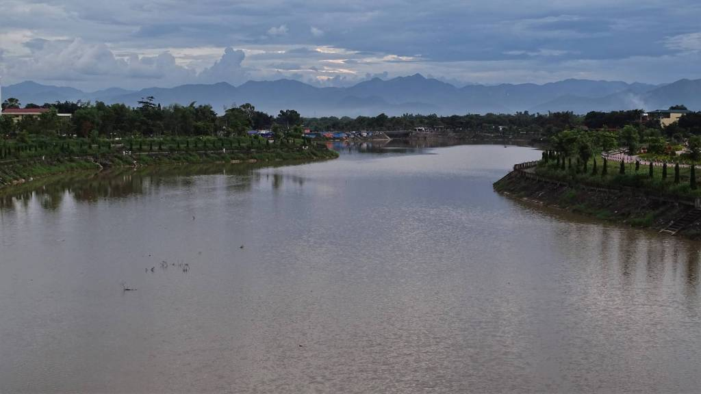 The view from the bridge in Dien Bien Phu, showing the mountain range panoramic view.