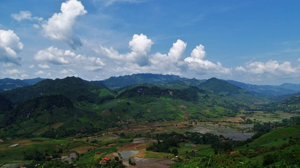 Spectacular mountain landscapes and paddy fields in the valley, seen from the road between Moc Chau and Dien Bien Phu