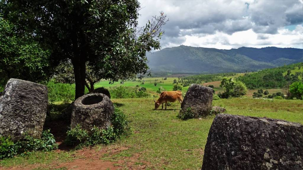 Huge stone jars scattering the meadow where a cow is grazing and a forested mountain range in the background. Phonsavan, Laos