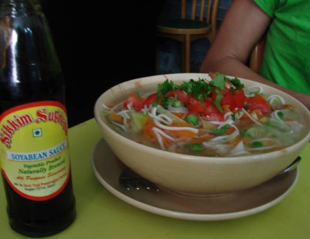 A bowl of thukpa- a vegetable noodle soup