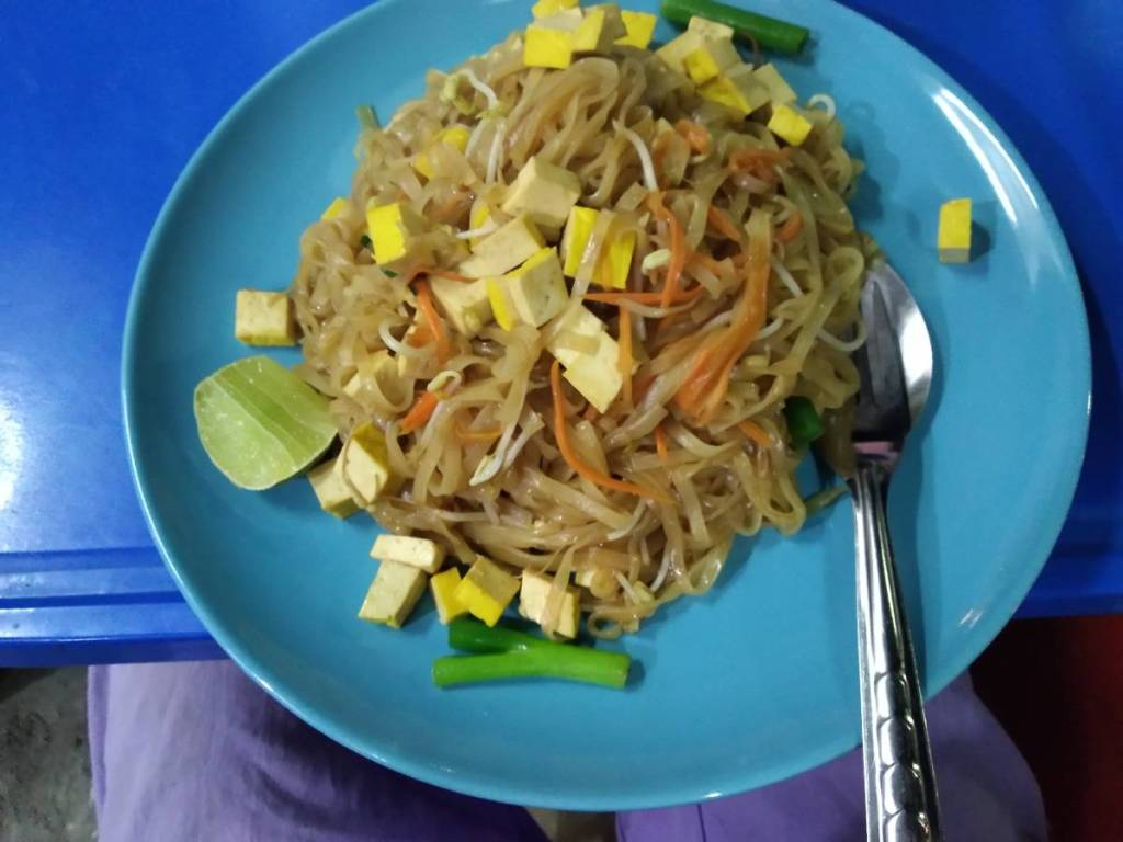 Pad thai- very simple Thai noodle dish in a vegan version with tofu