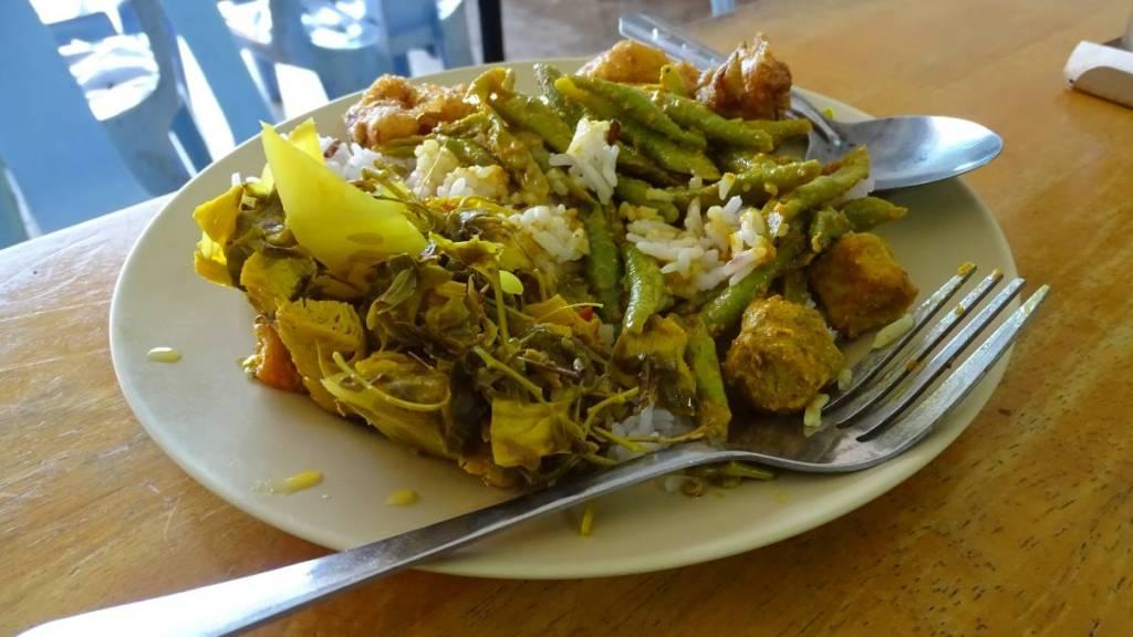 Plate full of various vegan dishes, some vegetable, some soya based