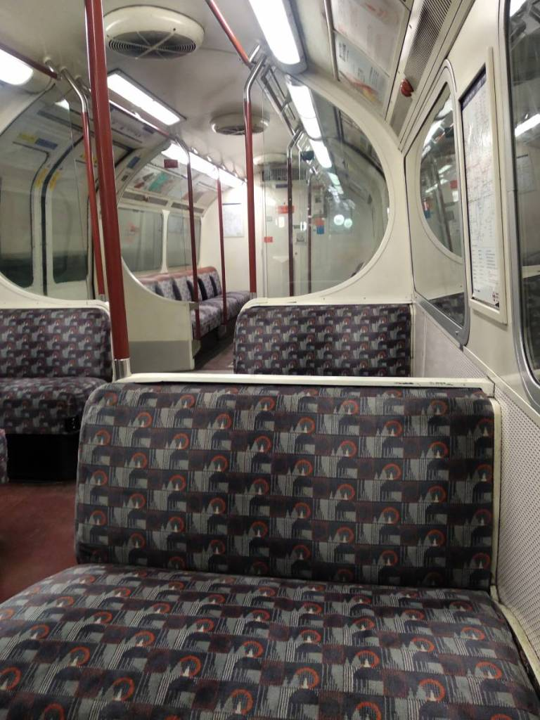 The empty interior of a Bakerloo line tube in London.