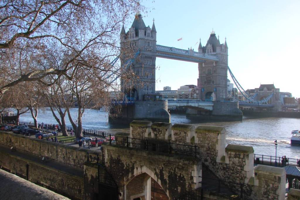 Tower Bridge seen through the ramparts of the Tower of London
