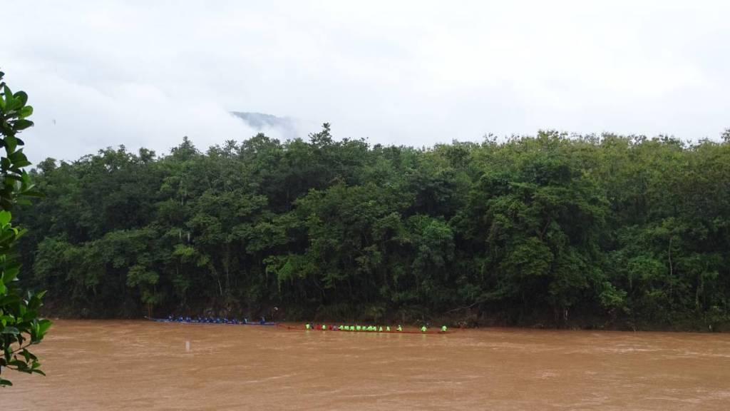 Two racing boats with teams of around 20 rowers each lining at the far bank of the brown-coloured Nam Khan river. Behind them there is a thick forest.