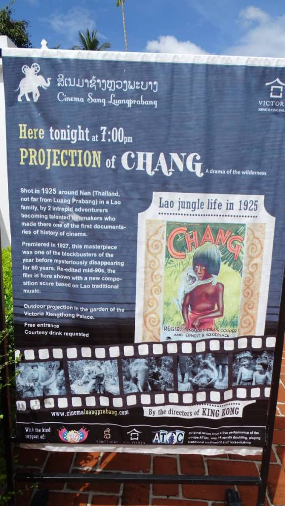 A poster inviting for a free projection of Chang movie from 1925