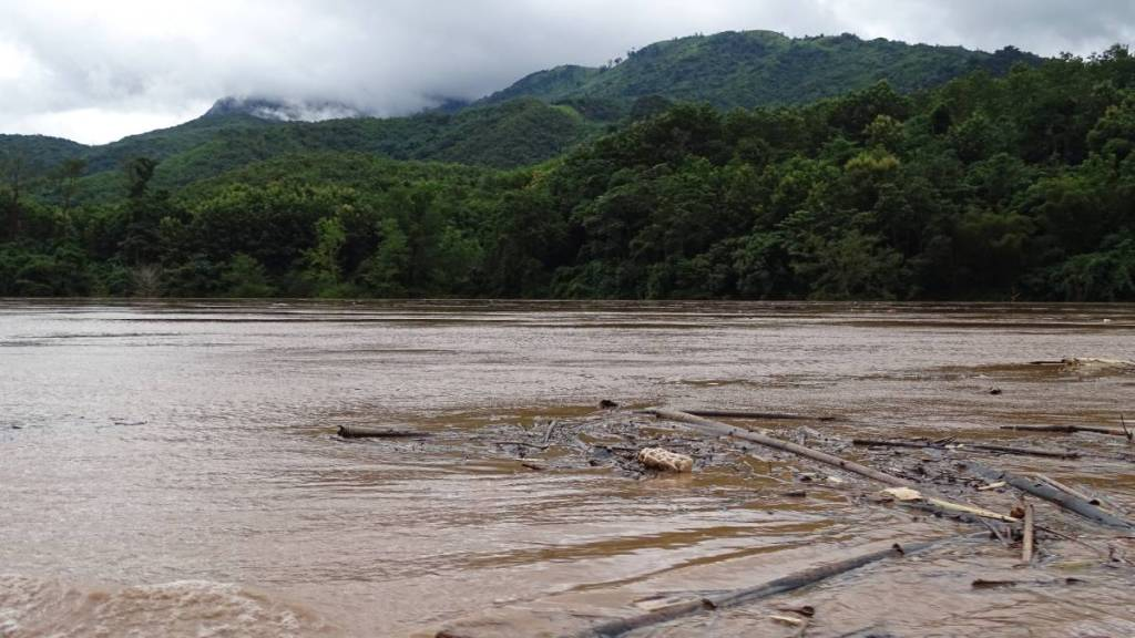 Pieces of wood and other debris flowing down Nam Ou river. Forested hills covered in clouds in the background.