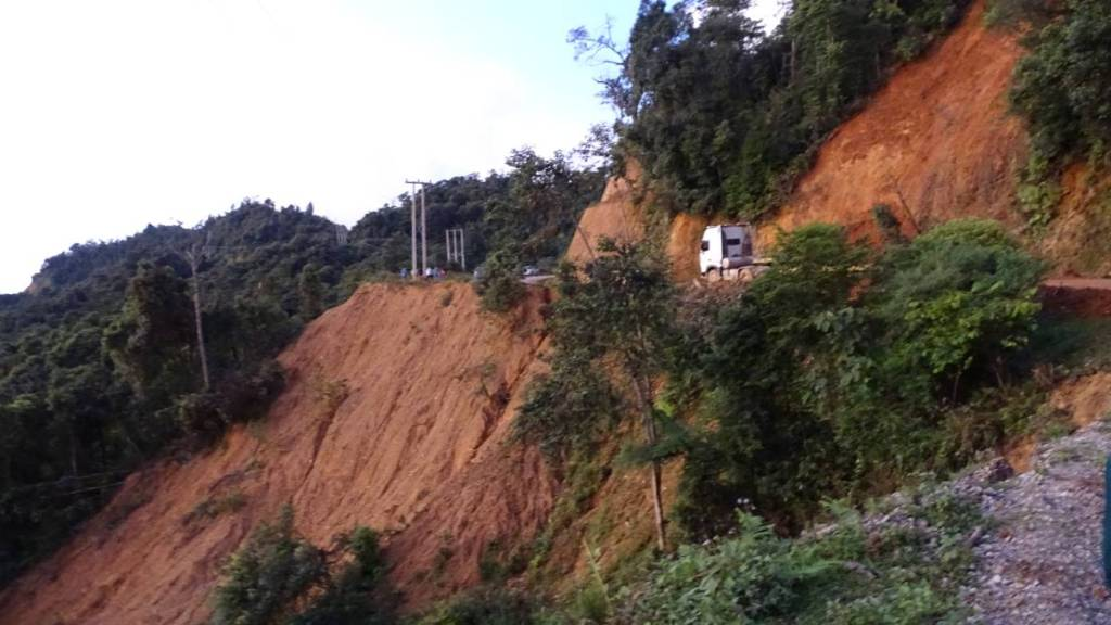 A section of the mountain road in Laos which edges crumbled into the precipice