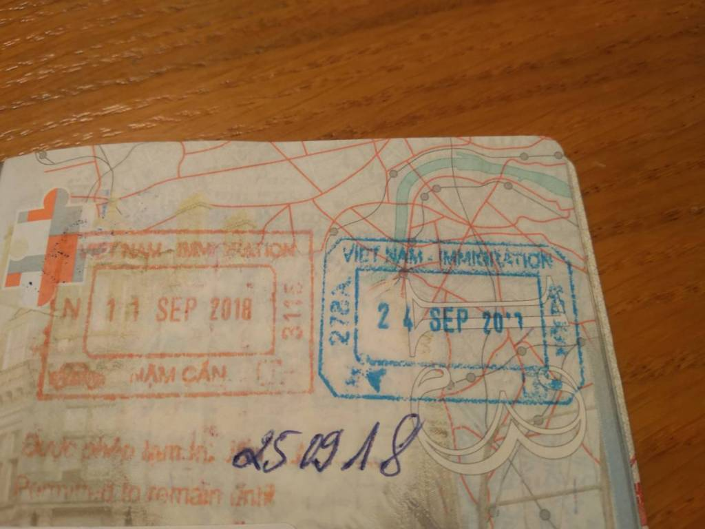 A stamp in a passport with the information a 15 days stay in Vietnam is permitted (visa free)