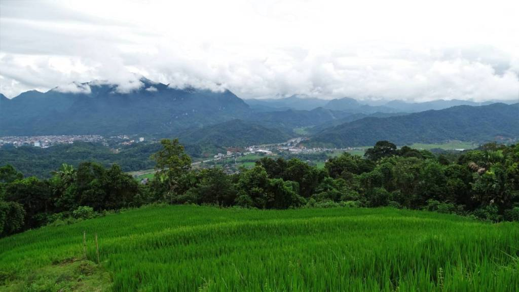 A terraced rice field in the foreground and a panoramic view at the mountains half-covered with clouds and Ha Giang city