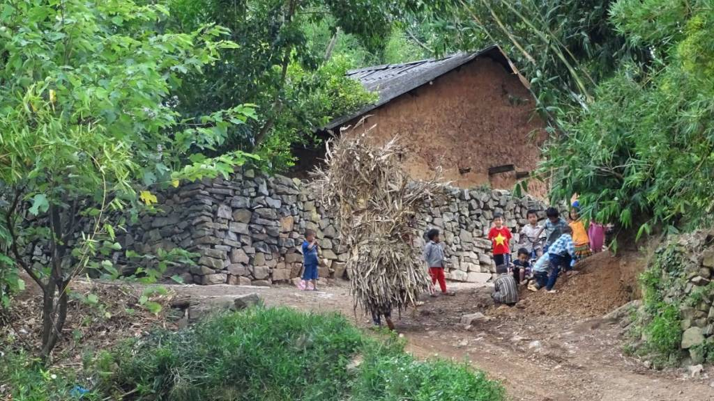 A large traditional adobe house behind a high stone wall, a group of children staring at a camera and a person carrying large bunch of crops on her back in a mountain village outside Dong Van