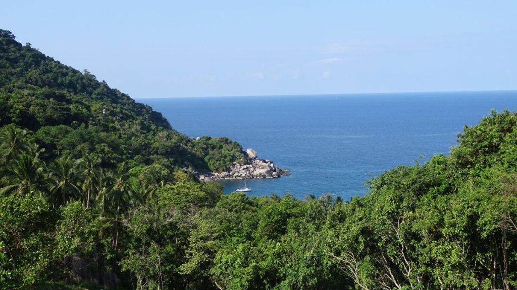 Top view of Hin Wong Bay from steep access road