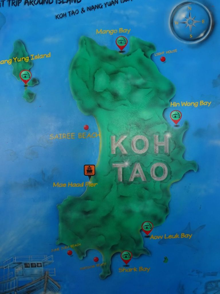 Map of Koh Tao showing snorkelling spots