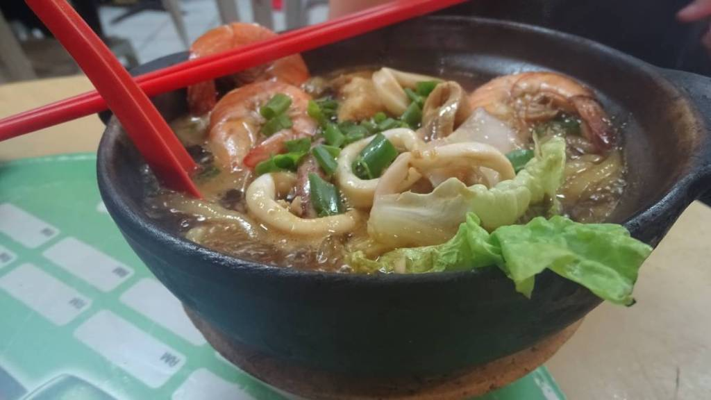 A hot pot dish with seafood sold at one of the Chinese restaurants in Kuala Lumpur's Chinatown