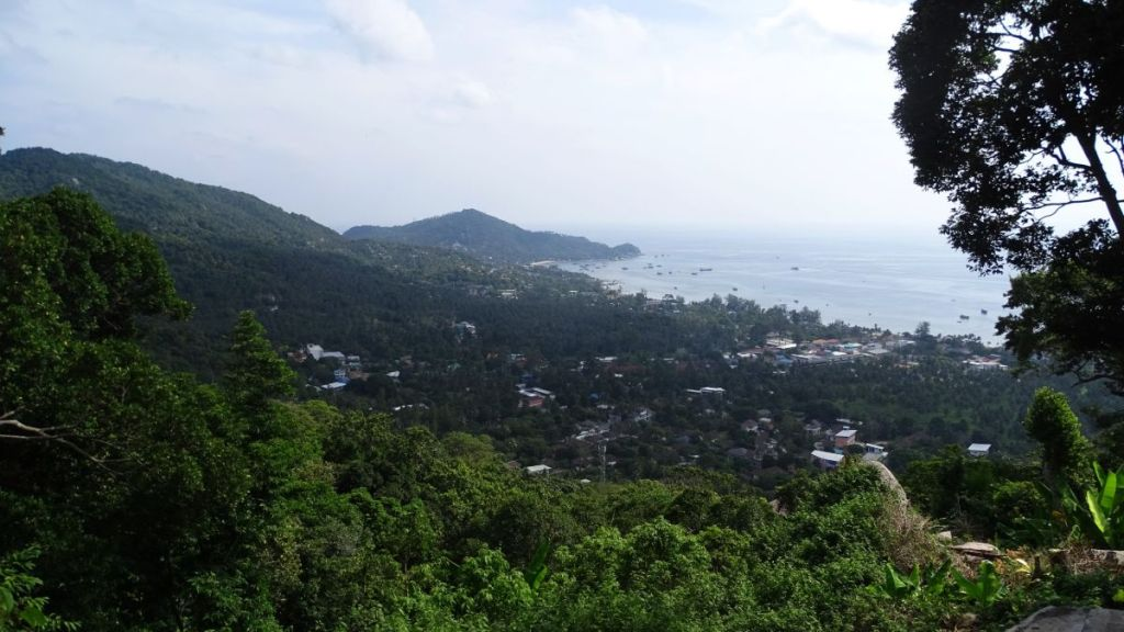 View of the sea and the mountain from Sunset viewpoint in Koh Tao