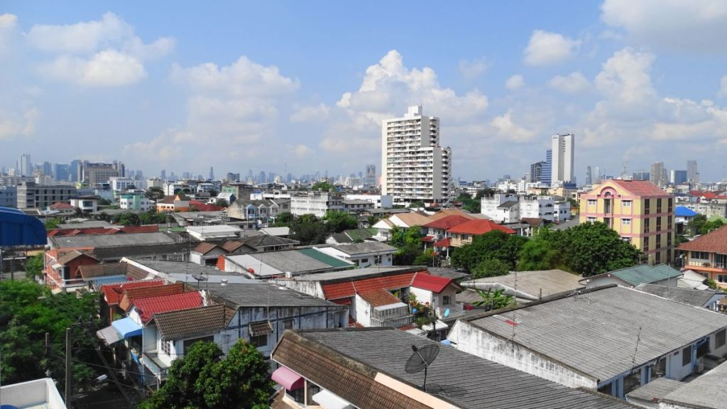 A top view of the neighbourhood of a residential area in Bangkok