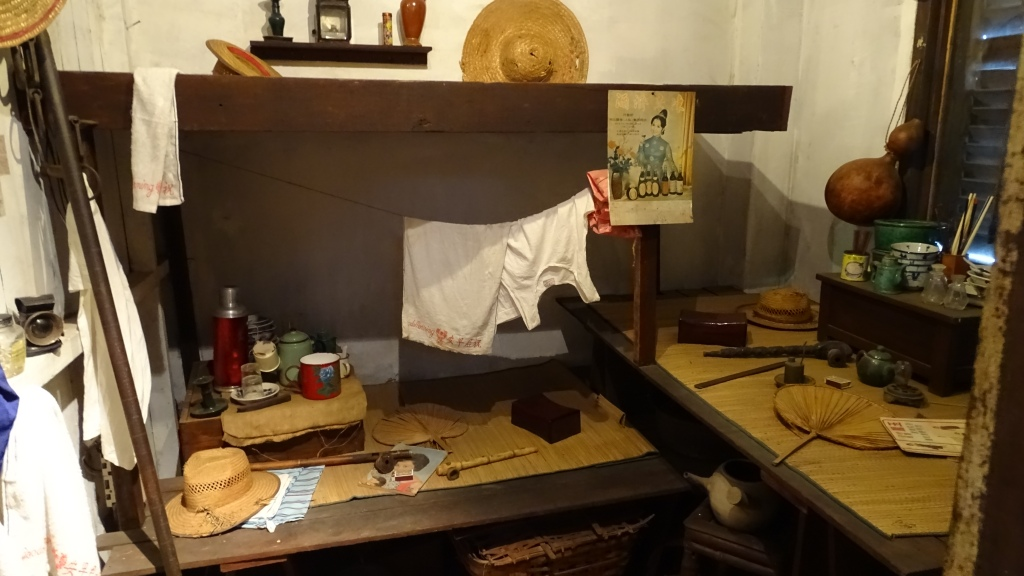 The reconstruction of the room rented by poor Chinese workers at the Chinese Heritage Centre in Singapore