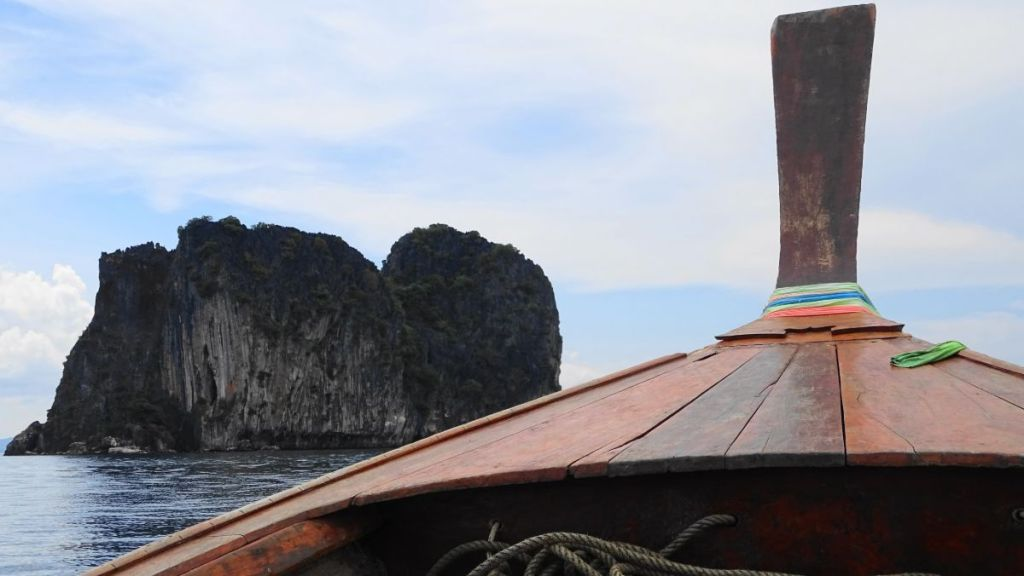 karst rock formations in the sea, seen from the boat