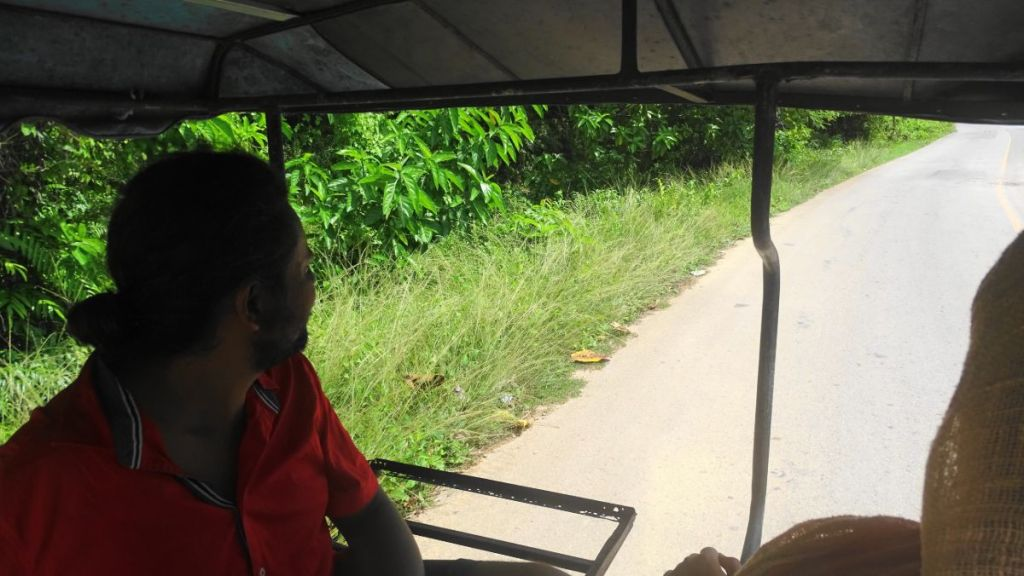 sayak in a private tuk-tuk (makeshift sitting arrangements attached to a motorbike) in Koh Lanta