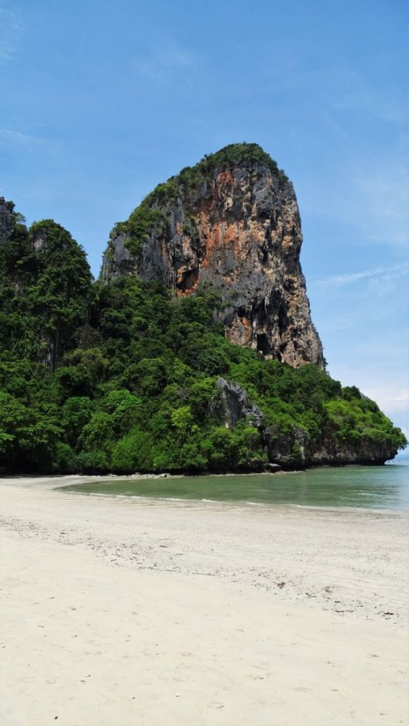Empty, sandy beach with the karst formation in West Railay