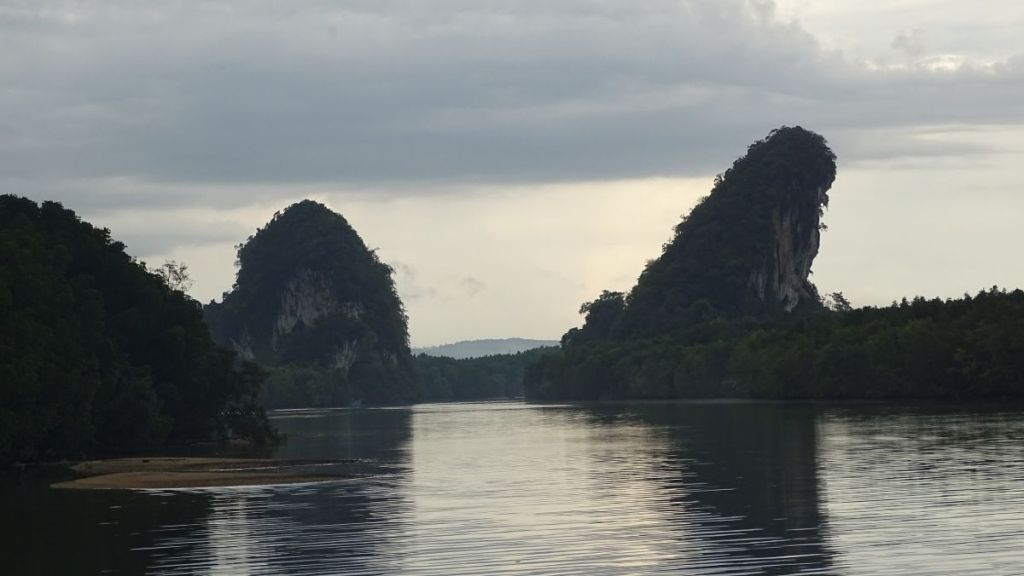 Krabi river, mangroves and karst rocks from the Krabi promenade