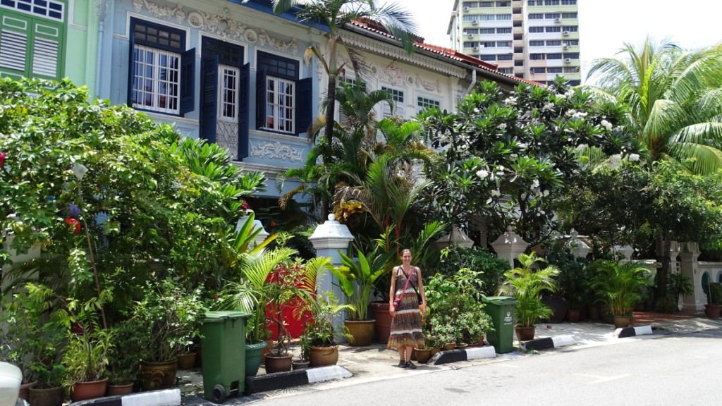 The author standing in front of the renovated and painted old residences with lush mini-gardens set in Outram Park, near China Town in Singapore