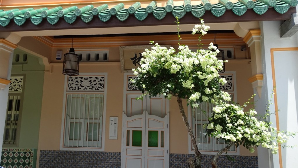 The front doors of beautifully painted old Sino-Portuguese style building with a blossoming bush growing in front of it.