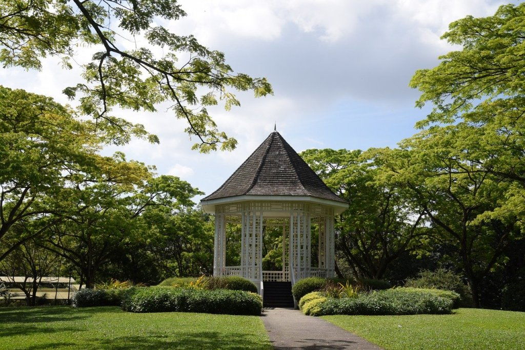 A white colonial-times gazebo at the Singapore Botanic Gardens