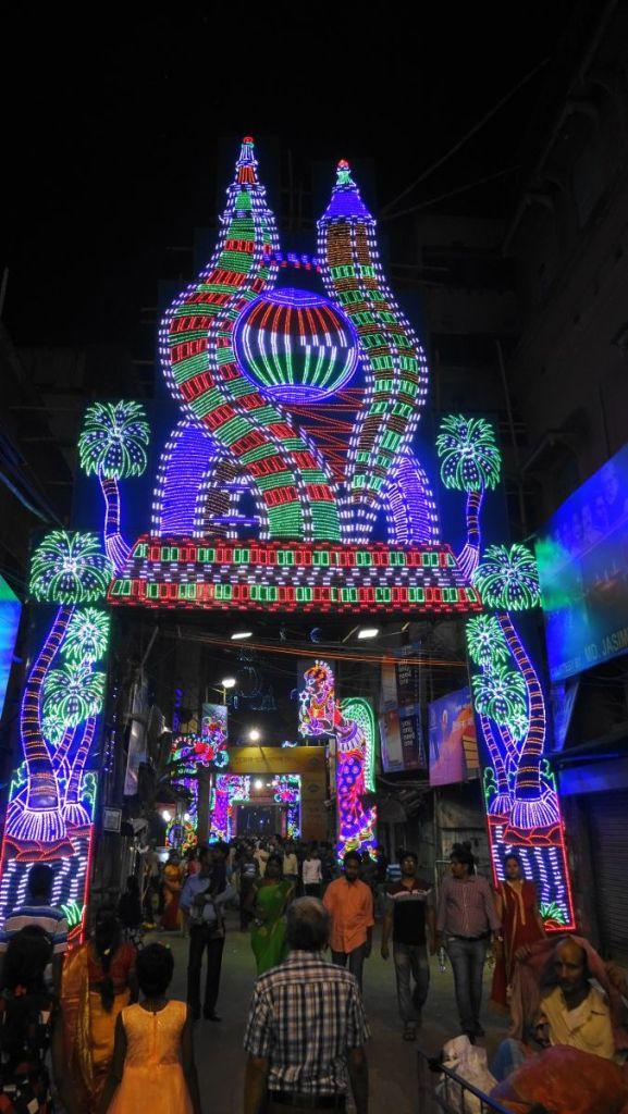 Neon decorations adorning the streets of north Kolkata during Durga Puja