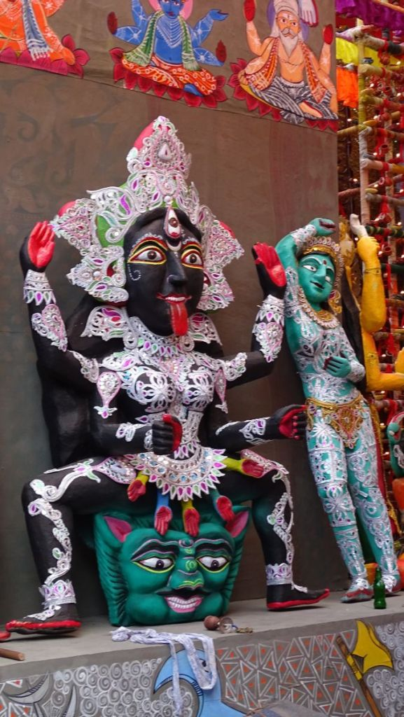 Folk-art styled Kali sitting at the Girish Park pandal in Kolkata