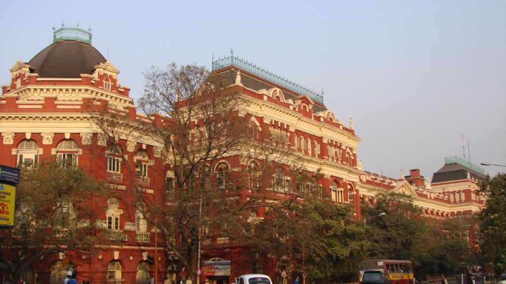 The enormous, 19th century brick-colour Writers Building in Kolkata
