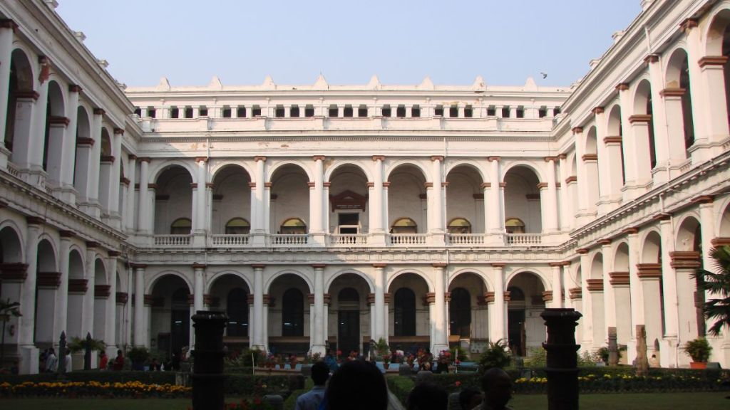The patio with two storey of arcades at the Indian Museum in Kolkata