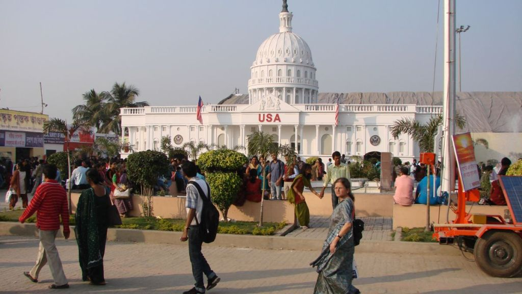 The model of the White House as one of the stalls at the Kolkata International Book Fair
