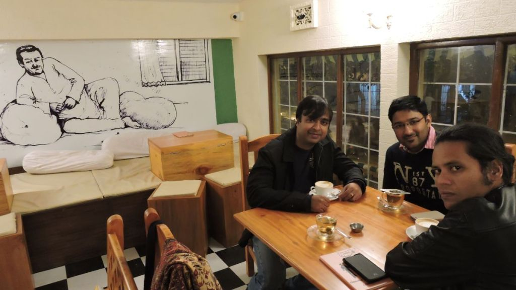 Sayak and his friends at a trendy cafe in Kolkata