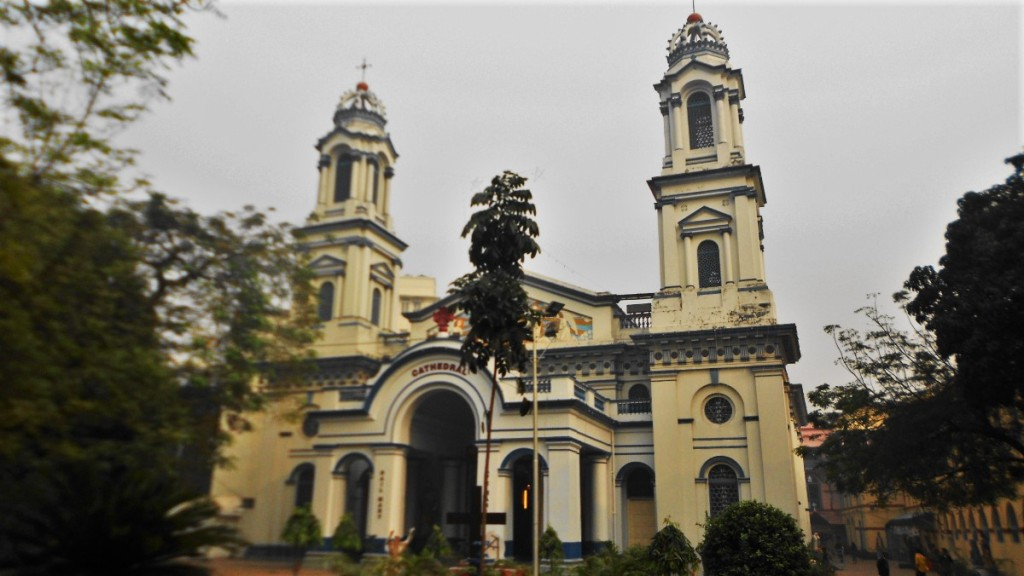 The Mediterranean style, baroque Portuguese Church in Kolkata with two symetrical towers and arched entrance
