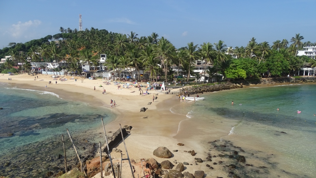Two bays of turqoise water meet at a peninsula in Mirissa, Sri Lanka. Small hotels are hidden among the palm trees.