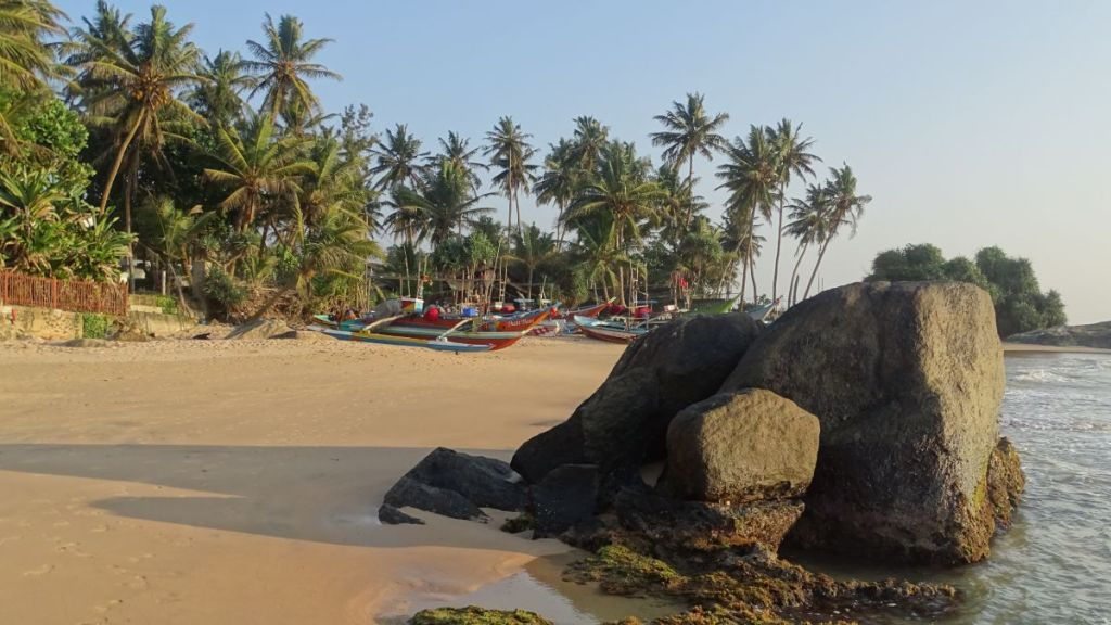 Colourful oruwa catamaran fishing boats among the boulders, sandy beach and palm trees in Ambalangoda