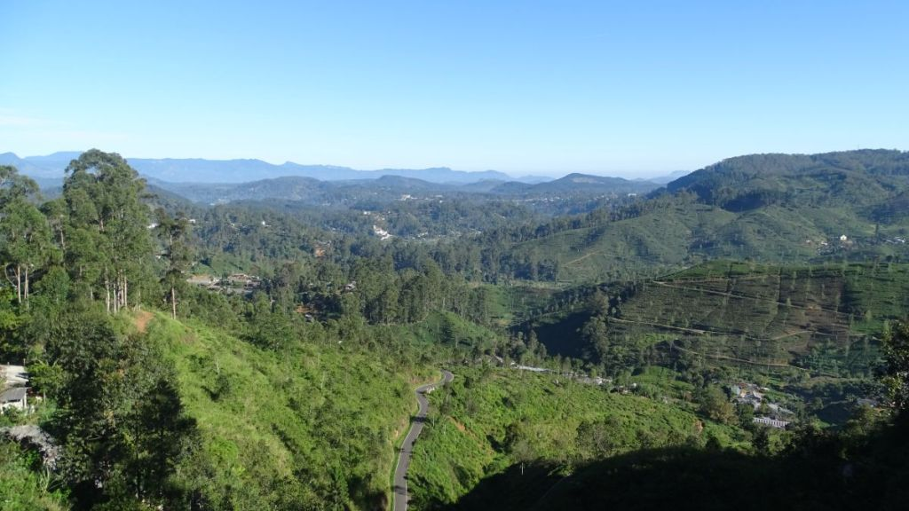 A panoramic view of the mountains and green hills covered with tea plantations in Haputale, Sri Lanka.