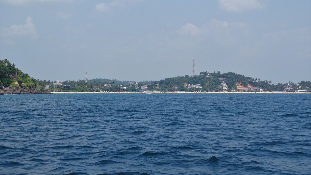 Mirissa beach as seen from far in the sea
