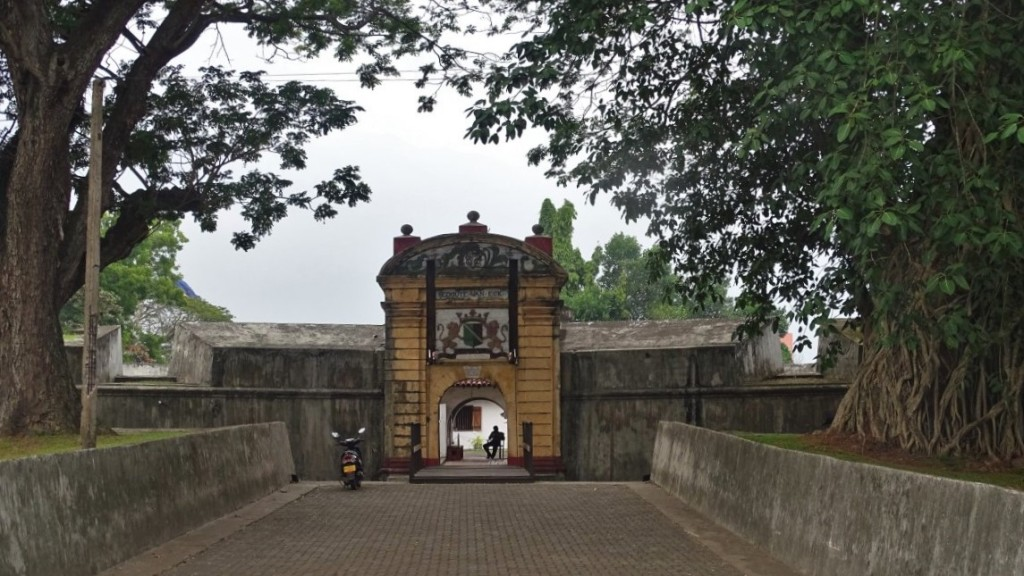 The entrance to a small Star Fort in Matara with a Dutch East India Company coats of arms above the gate.