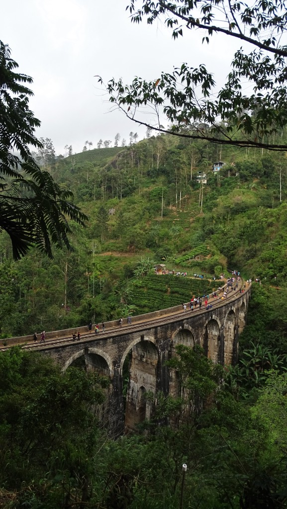 A tall, stone railway viaduct full of tourists spanning over a deep, green ravine