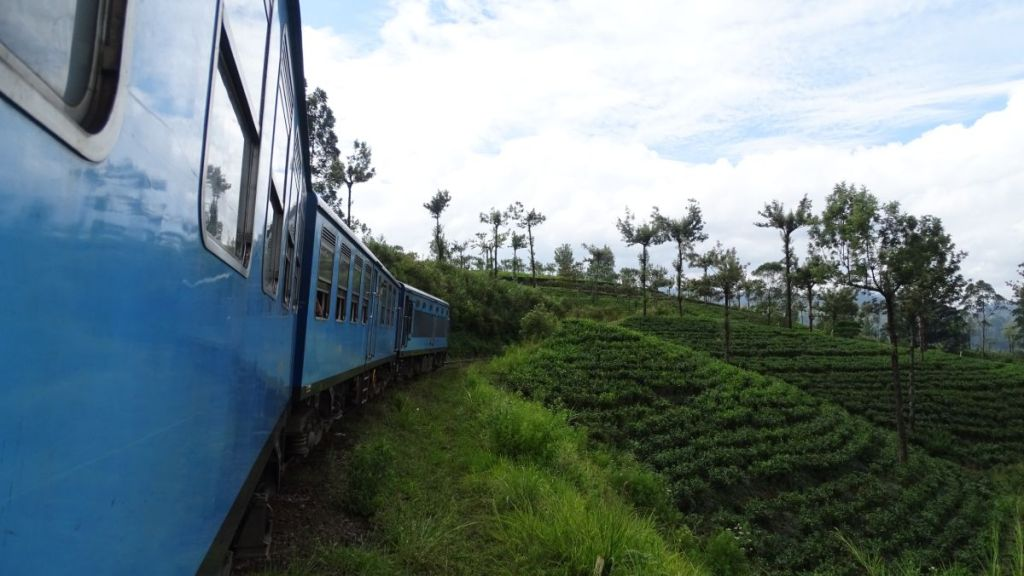 A blue train snakes through hills covered with tea gardens in Sri Lankan Tea Country